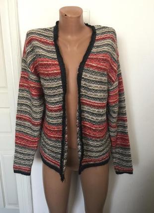 Теплий шерстяной свитер накидка фирми h&m