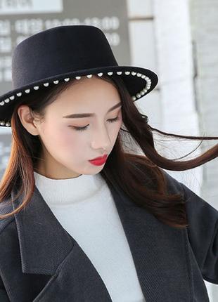 13-123 модная весенне-осенняя шляпа канотье с жемчугом с широкими полями