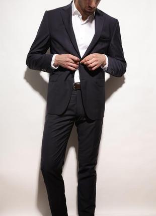 Мужской классический костюм massimo dutti, темно-синий костюм