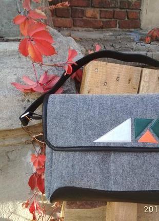 Стильная сумка из войлока и натуральной кожи