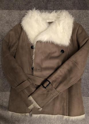 Шуба/дубленка/курточка под замш на меху тёплая на осень-зиму ostin