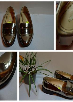 Золотые туфли лоферы zara