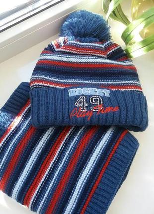 Комплект шапка и снуд на флисовой основе, тёплая шапка