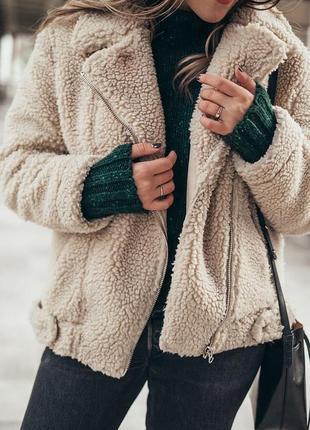 Тепла куртка-тедди з еко-овчини/ teddy bear jacket