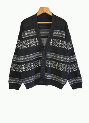 Стильный мужской кардиган свитер кофта с жаккардовым узором. англия