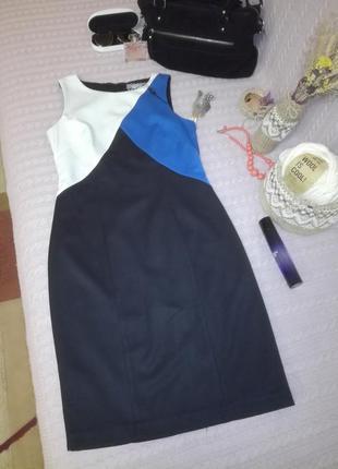 Сине-бело-черное платье на подкладке, next р.12