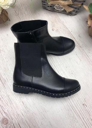 36-41 рр деми/зима ботинки, ботильоны черные натуральная кожа, замш