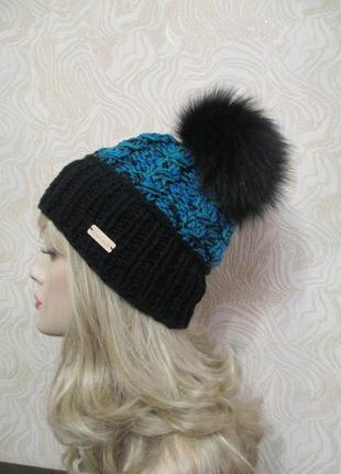 Стильная шапка крупной вязки № 109