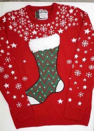 Суперовый вязаный свитер в новогодний принт сапожок бренда cedarwood state