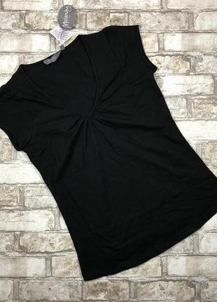 Хлопковая трикотажная футболка для беременных, топ чёрный