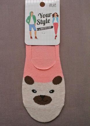 Хлопковые женские супер короткие носочки, следки персиковые.