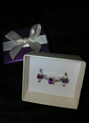 Серебряный комплект аметист серьги и кольцо