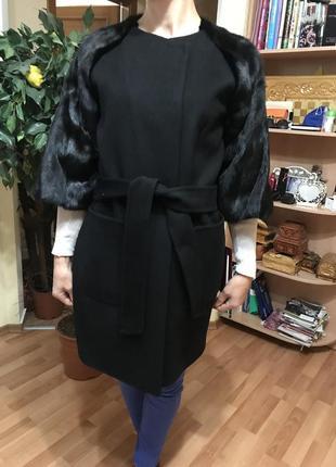 Кашемировое пальто с норкой норковая шуба
