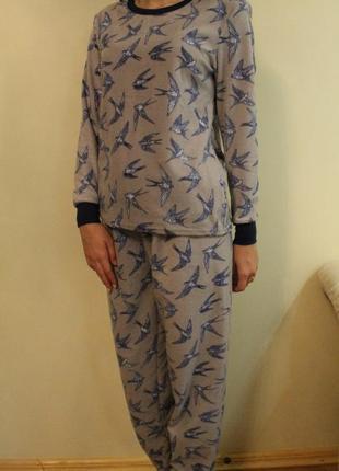 Флисовая пижама ласточки, домашний костюм avenue размер s(8-10)