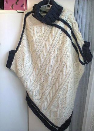 Ассиметричное вязаное платье-свитер р.l из шерсти, авторская ручная работа