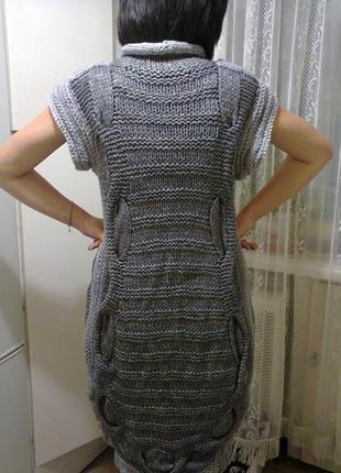 Шикарное вязаное платье р.l, ручная работа2 фото
