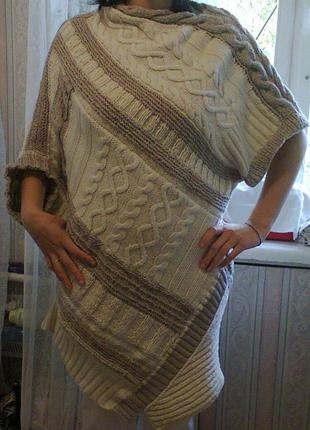 Креативное ассиметричное вязаное платье-туника р.l, авторская ручная работа
