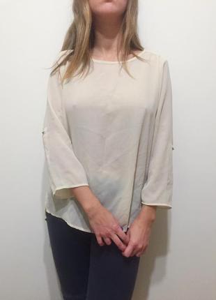 Молочная шифоновая блуза zara