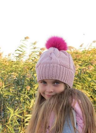 Шапка зимняя пудра розовая