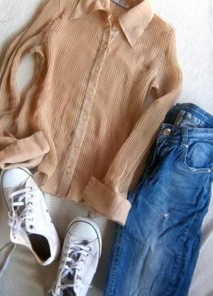 Шефоновая рубашка плиссе размер 40-44