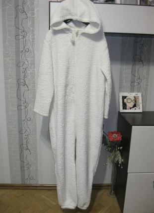 Мишка умка меховая пижама кигуруми теплый халат домашний костюм хл-ххл