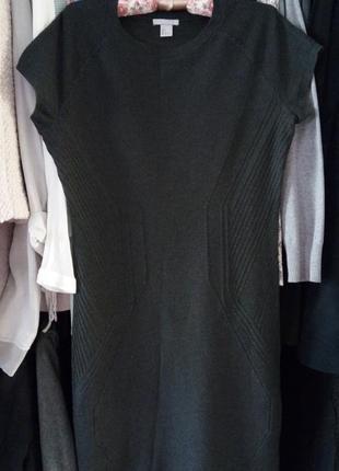 Теплое платье миди с коротким рукавом реглан
