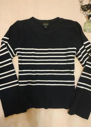 Модный укороченный полосатый свитер с широкими рукавами