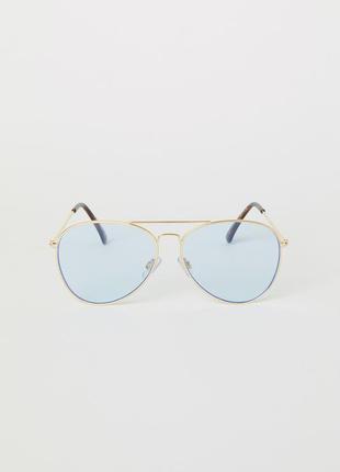 Крутые очки авиаторы прозрачно-голубые h&m новые cat.1 uv 400