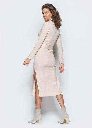 Платье-гольф бежевого цвета из мягкой ангоры