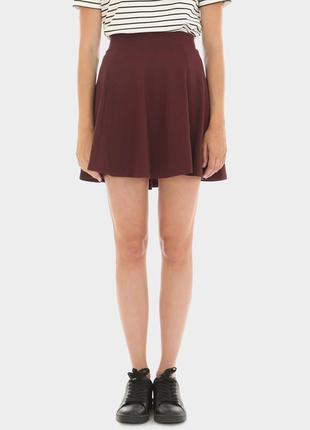 Юбка солнце бордовая  мини юбочка цвета марсала спідниця бордо