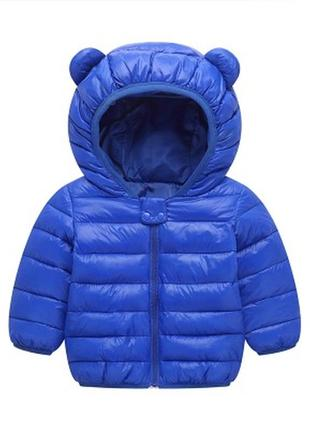 Очень классная курточка с ушками для малыша, разм 90, 1,5-2г синий