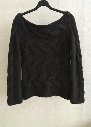 Шерстяной свитер крупная вязка косами
