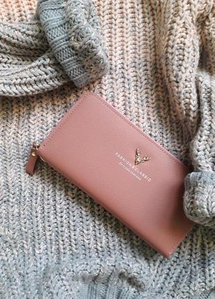 Трендовый пудровый кошелёк - клатч - портмоне с оленем fashion&classic
