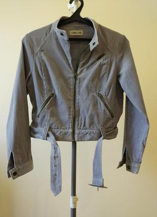 Стильна трендова вельветова сіра жіноча куртка.