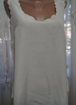 Шифоновая майка блуза с перфорацией молочного цвета