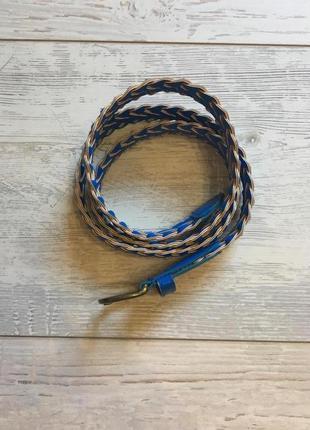 Ремень пояс косичка синий