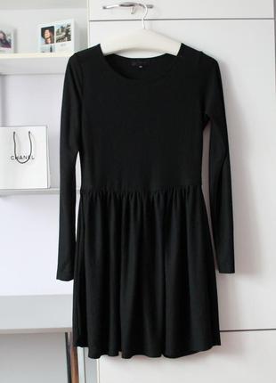 Базовое черное платье с длинным рукавом от topshop