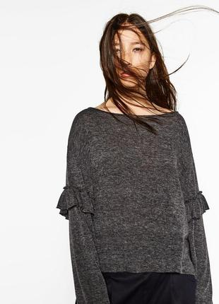 Zara модный джемпер свитер с воланами рюшами на рукавах
