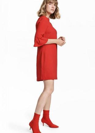 Короткое красное платье h&m