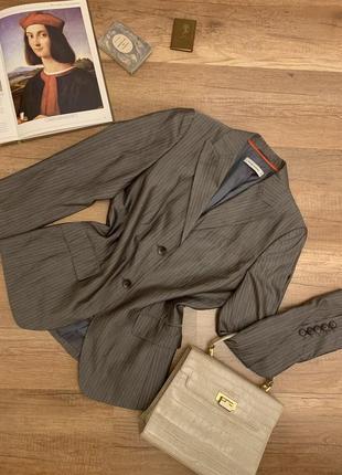 Оригинал rene lezard пиджак жакет серый в полоску шелковый шерстяной шёлк шерсть