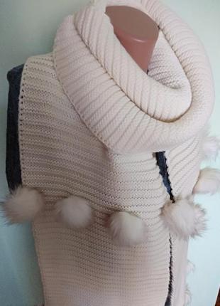 Суперцена до 31 декабря!) шикарный тёплый шарф с помпонами от river island