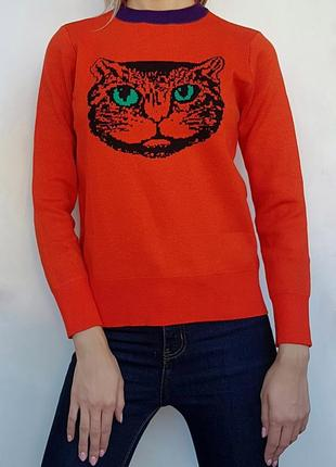 Яркий модный теплый свитер с котом