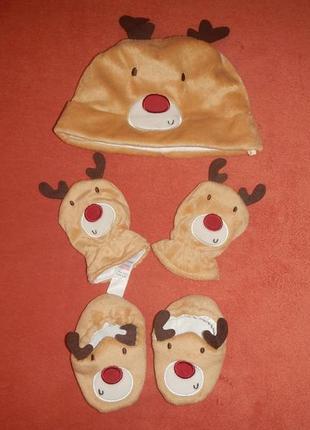 Набор m&co р.6-12мес(74-86см) шапка рукавички пинетки
