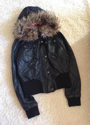 Кожаная куртка с капюшоном new look