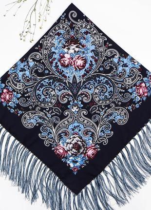 Тёмно-синий павлопосадский платок царский