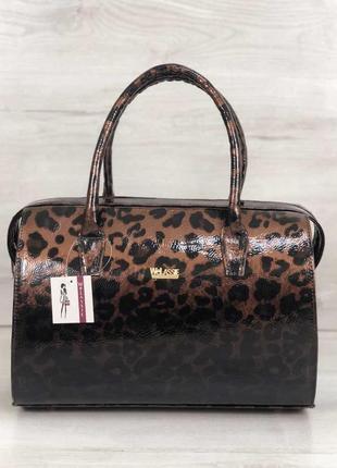 Коричневая лаковая сумка саквояж леопардовая с ручками деловая