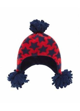 Новая флисовая синяя шапка в звездочки для малышей, mothercare, 7570894