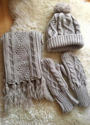 Комплект шапка шарф і рукавиці