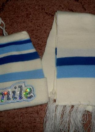 Комплект шапка+шарфик унисекс(новый)