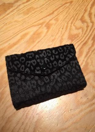 Женский черный бархатный кошелек